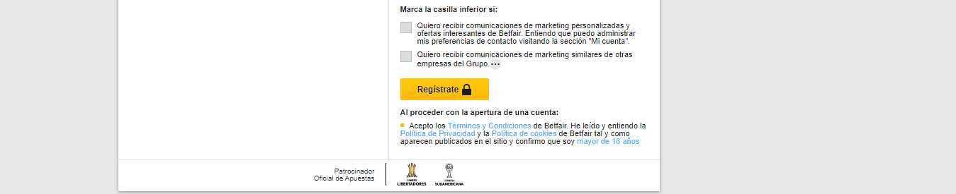 Promocion registro de la empresa de apuestas e intercambio Betfair
