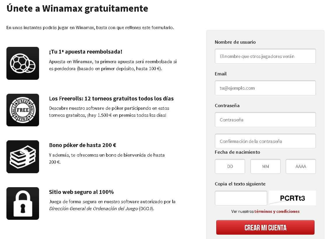 Winamax register bonuses